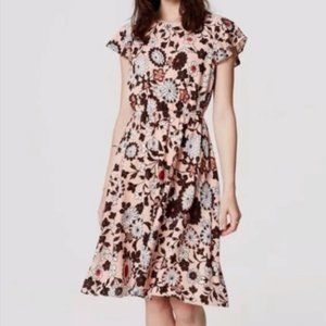 LOFT Floral Ruffle Sleeves Pink Dress size 6 NWOT